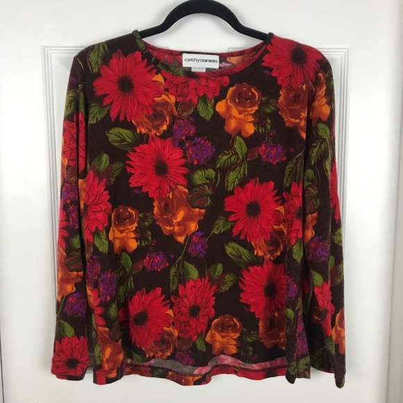89191d7f70b Cathy Daniels Sweaters | Vintage Floral Pullover Sweater | Poshmark